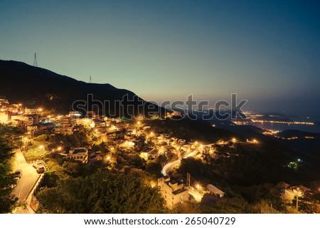 Nightview in Jiufen, Taiwan - stock photo