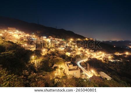Nightview in Jiufen, Taiwan. - stock photo