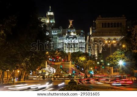 Nightview of Plaza de Cibeles in Madrid, Spain - stock photo