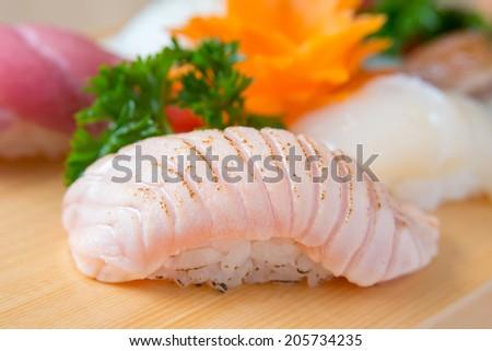 Nigiri sushi grilled chutoro (Maguro) - stock photo