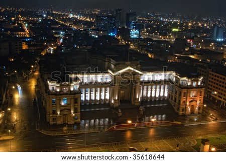 Nigth view on Palacio de Jvsticia at Lima, Peru