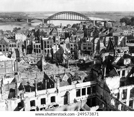 Nijmegen, Holland, with a view of the bridge over the Rhine River. The bridge was a key objective of the unsuccessful Operation Market Garden, of Sept. 17-25, 1944. - stock photo