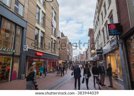 NIJMEGEN, THE NETHERLANDS - OCTOBER 11, 2015: Cityscape of shopping window in the ancient city center of Nijmegen, The Netherlands - stock photo