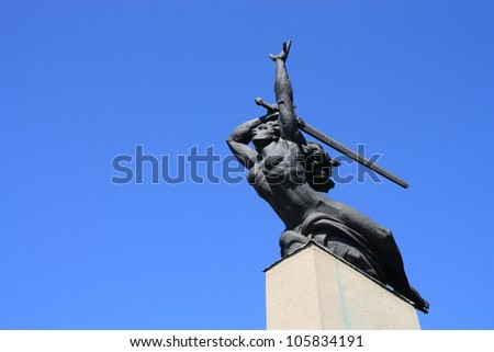Nike statue in Warsaw, Poland. Nike in Greek mythology was a goddess who  personified