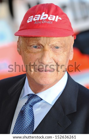"Niki Lauda arriving for the ""Rush"" World premiere at the Odeon Leicester Square, London. 02/09/2013 - stock photo"