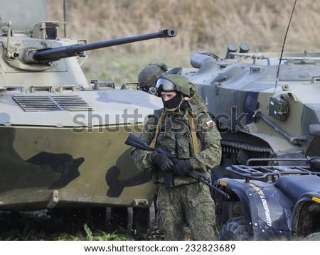 """NIKINCI, SERBIA - CIRCA NOVEMBER 2014: Russian army soldiers at military exercise """"Srem 2014"""" , circa November 2014 - stock photo"""
