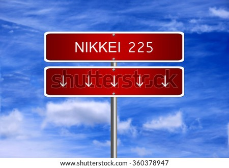 Nikkei 225 Japan Index Crash Arrow Stock Illustration 360378947