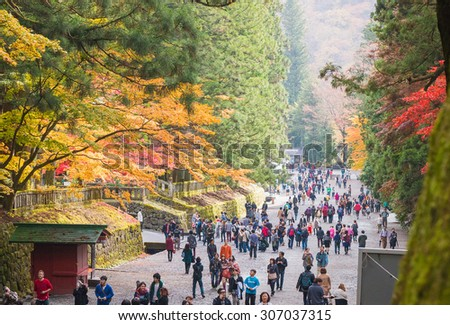 NIKKO, JAPAN - NOV 4: People visit Tosho-gu Shrine on Nov 4, 2013 in Nikko, Japan. Toshogu is part of a UNESCO World Heritage Site, group of very important temples in Japan. - stock photo