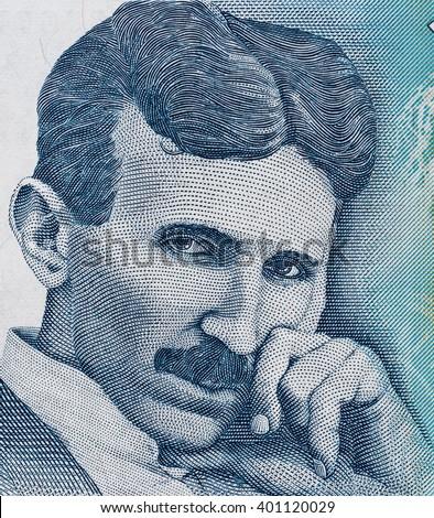 Nikola Tesla portrait on Serbia 100 dinars banknote close up macro, Serbian money closeup - stock photo