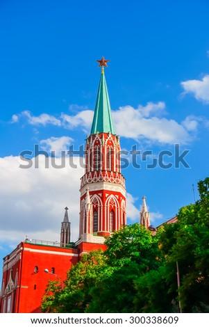 Nikolskaya Tower of Kremlin in Moscow, Russia - stock photo