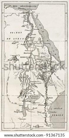 Nile basin old map. By unidentified author, published on Le Tour du Monde, Paris, 1867 - stock photo