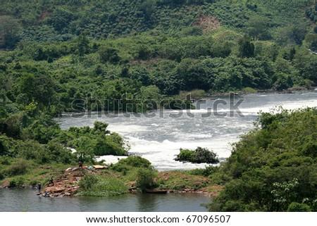 Nile River - Bujagali Falls + River in Uganda - The Pearl of Africa - stock photo