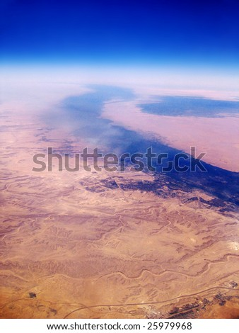 Nile River delta with Cairo, Faiyum and Beni Suef - stock photo
