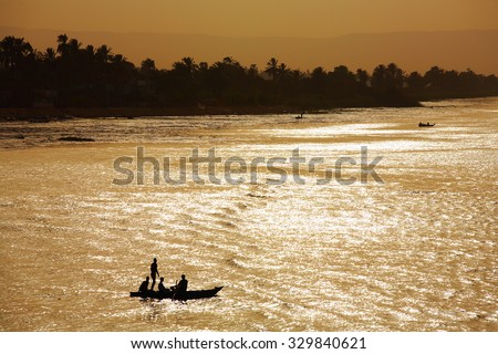 Nile river landscape, Egypt. Sunset.
