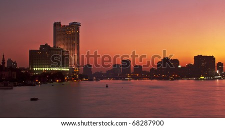 Nile Skyline in Cairo, Egypt, North Africa. During Sunset. - stock photo