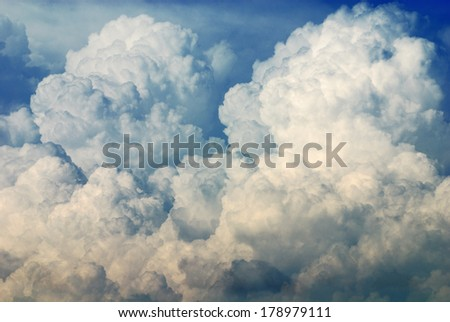 Nimbus in Cloudscape with blue sky/Nimbus in Cloudscape - stock photo