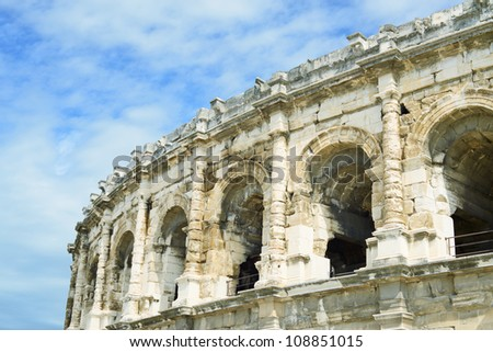 Nimes ancient Arenas detail, historic Roman amphitheater, Provence, Southern France, Europe.