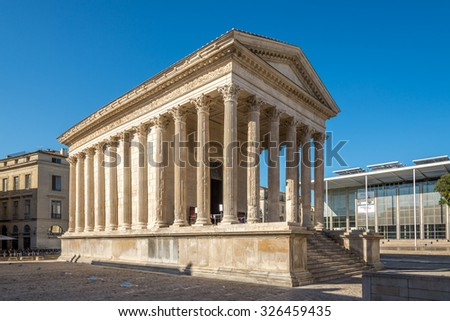 NIMES,FRANCE - AUGUST 30,2015 - Ancient Monument Maison Carree of Nimes.Nimes has a rich history, dating back to the Roman Empire.