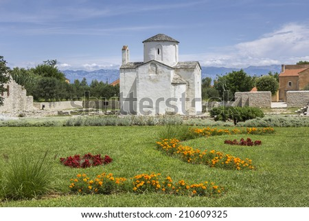 Nin, Croatia, The smallest cathedral in the world, church of the Holy cross in built in the 9th century.  - stock photo