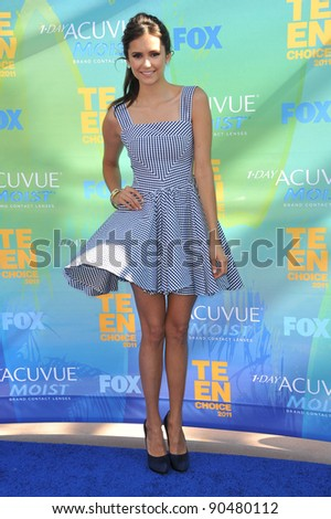 Nina Dobrev arrives at the 2011 Teen Choice Awards at the Gibson Amphitheatre, Universal Studios, Hollywood. August 7, 2011  Los Angeles, CA Picture: Paul Smith / Featureflash