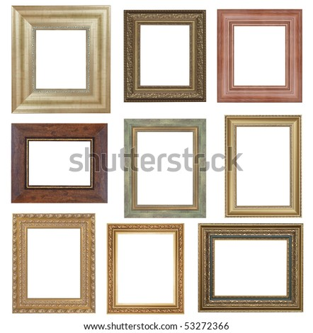 nine antique picture frames isolated on white . High resolution