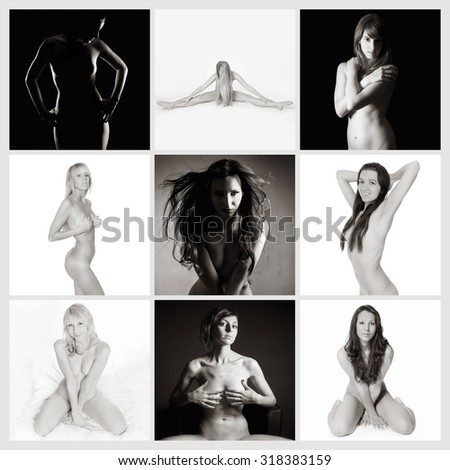 Nine attractive nude models, private parts are not visible, monochrome photos - stock photo