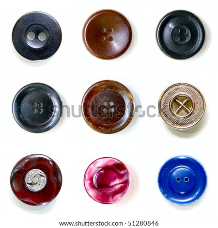 Nine beautiful buttons isolated on white - stock photo