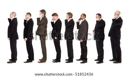 Nine businessmen on the phone isolated on white background - stock photo