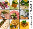 nine carpaccio dishes - stock photo