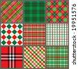 Nine Christmas Plaids - stock vector