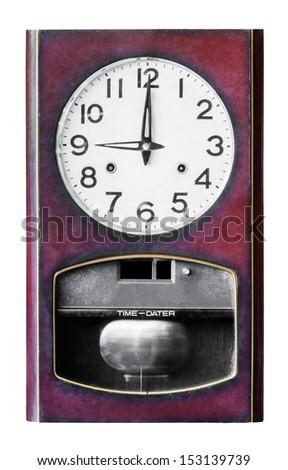 Nine clock wood isolated on white background - stock photo