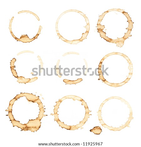 Nine coffee stains isolated over white background - stock photo