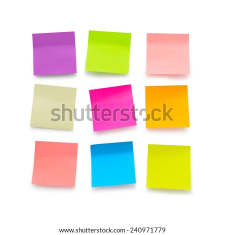 Nine color blank sticky notes on white background - stock photo