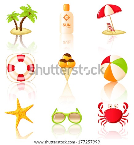 Nine colored beach icons. Collection of design elements. Raster illustration. Vector version is also included in the portfolio.  - stock photo