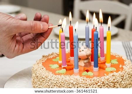 nine colorful candles on an orange Happy Birthday cake decorated with a monkey and carrots being lit with a match by a man's hand - stock photo