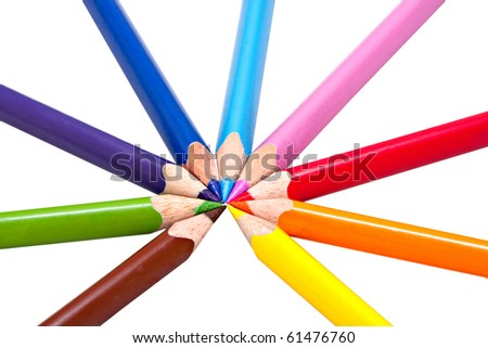 nine different colored pencils in circle on white background, triangular shaped for correct pencil grip
