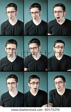 Nine facial expressions of a young man with glasses on a blue background. - stock photo