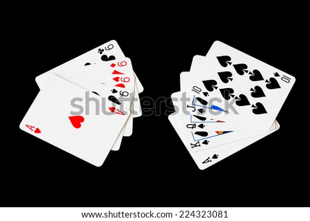 Nine Four cards and ace vs Royal Flush in poker game on black background - stock photo