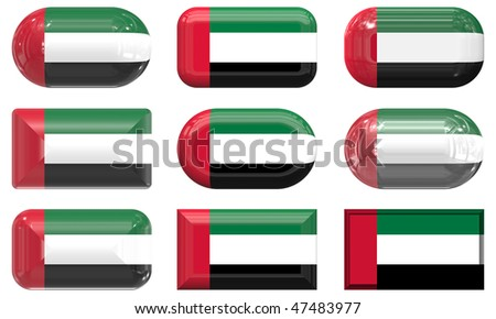 nine glass buttons of the  Flag of United arab Emirates
