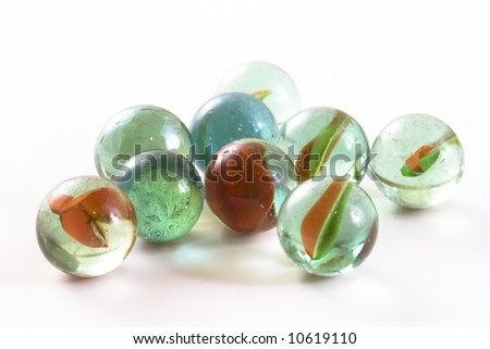 Nine glass marbles