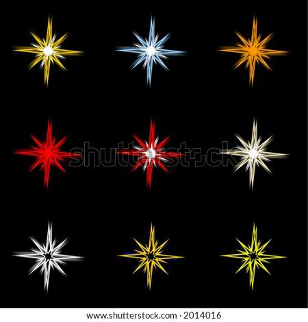 Nine holiday stars on black background. - stock photo