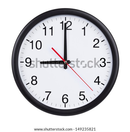 Nine hours on a round clock face - stock photo