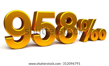 Nine hundred and fifty eight per mill 3D text, with big golden fonts isolated on white background. Rendered illustration.