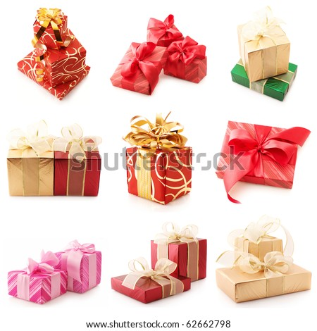 Nine images of colorful gifts isolated on white background. - stock photo