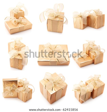Nine images of golden gifts isolated on white background. - stock photo