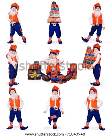 Nine images of little gnome dancing and preparing Christmas gifts on white background - stock photo