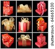 Nine images of red and gold gifts on black background. - stock photo