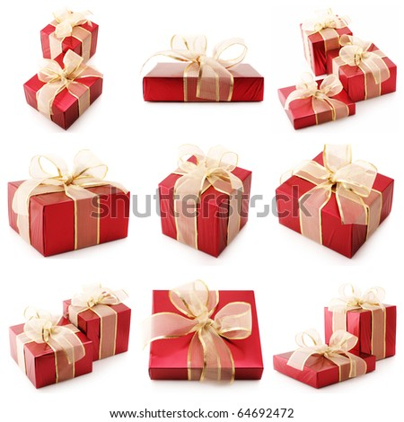 Nine images of red gifts isolated on white background. - stock photo