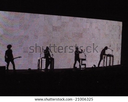 Nine Inch Nails performs during their Lights In the Sky tour at the Mizzou Arena in Columbia, Missouri, November, 21st, 2008. - stock photo
