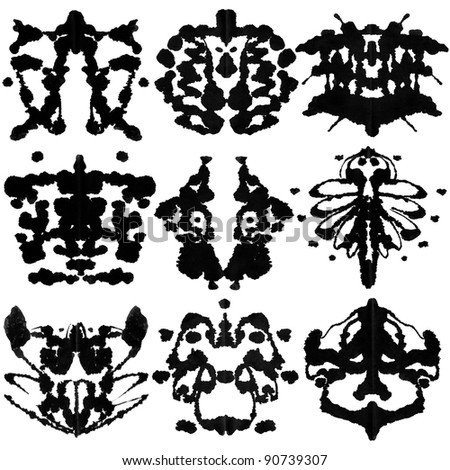 Nine ink blot for psychiatric evaluations. - stock photo